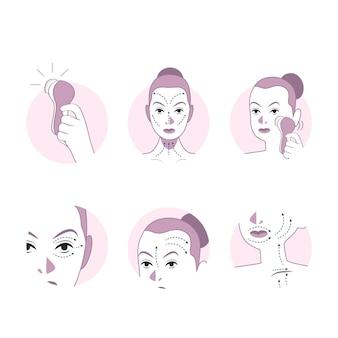 Ręcznie rysowane technika masażu twarzy