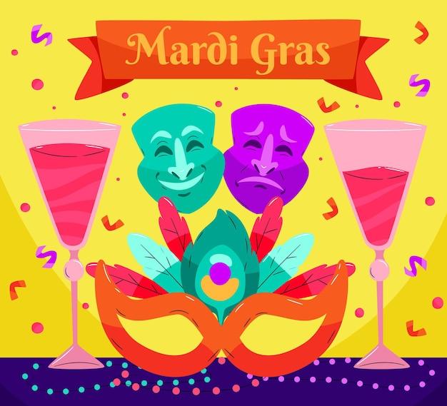 Ręcznie rysowane tekst mardi gras z ilustracjami elementów