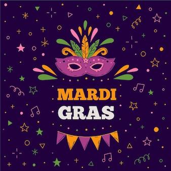 Ręcznie rysowane tekst mardi gras z maską ilustrowany