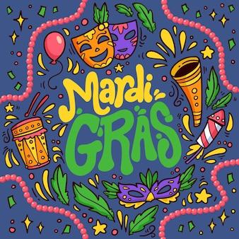 Ręcznie rysowane tekst mardi gras
