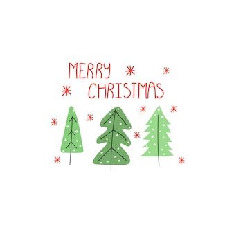 Ręcznie rysowane tekst wesołych świąt i drzewo pozdrowienie pocztówka szczęśliwego nowego roku koncepcji