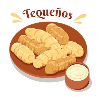 Ręcznie rysowane tequeños na talerzu z sosem ilustracja