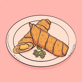 Ręcznie rysowane tequeños na talerzu