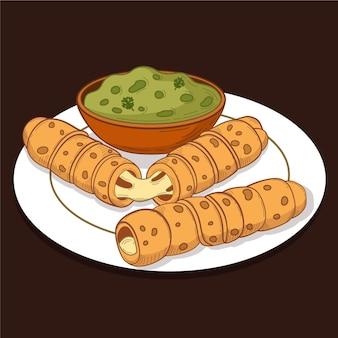 Ręcznie rysowane tequeños z sosem