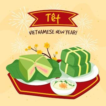 Ręcznie rysowane têt wietnamski nowy rok