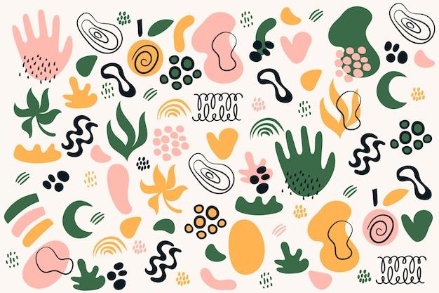 Ręcznie rysowane tła abstrakcyjne kształty organiczne