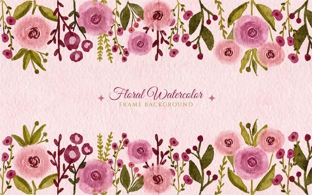 Ręcznie rysowane tła akwarela dziki kwiat ogród ramki