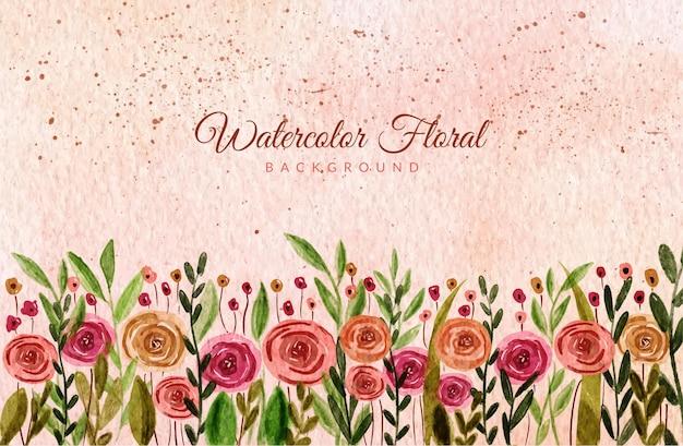 Ręcznie rysowane tła akwarela dziki kwiat ogród