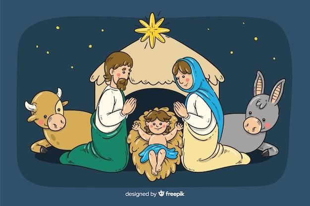 Ręcznie rysowane tła boże narodzenie