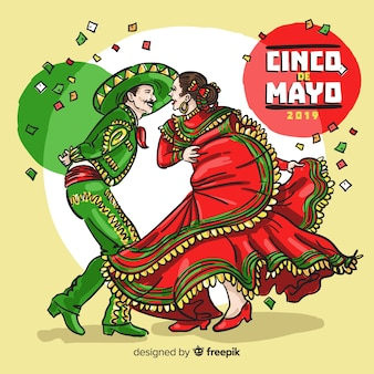 Ręcznie rysowane tła cinco de mayo