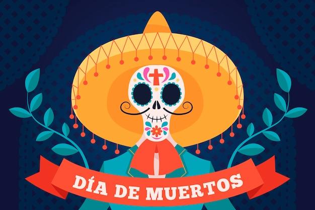 Ręcznie rysowane tła día de muertos