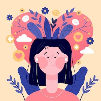 Ręcznie rysowane tła dnia zdrowia psychicznego świata