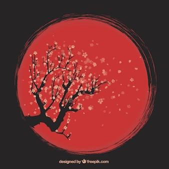 Ręcznie rysowane tła drzewa wiśniowego artystycznej