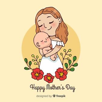 Ręcznie rysowane tła dzień matki