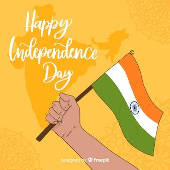 Ręcznie rysowane tła dzień niepodległości indii