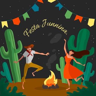Ręcznie rysowane tła festa junina
