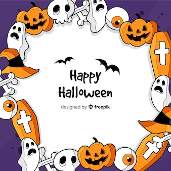 Ręcznie rysowane tła halloween wieniec