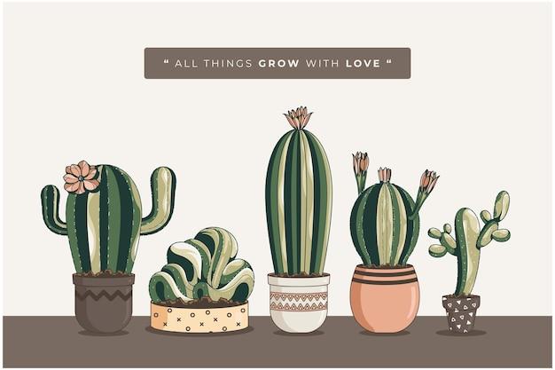 Ręcznie rysowane tła ilustracji kaktusa