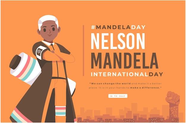 Ręcznie rysowane tła ilustracji nelsol mandela day