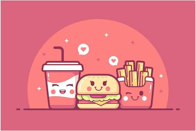 Ręcznie rysowane tła ilustracji postaci fast food
