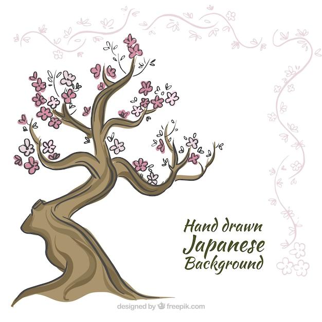 Ręcznie rysowane tła japońskie drzewo