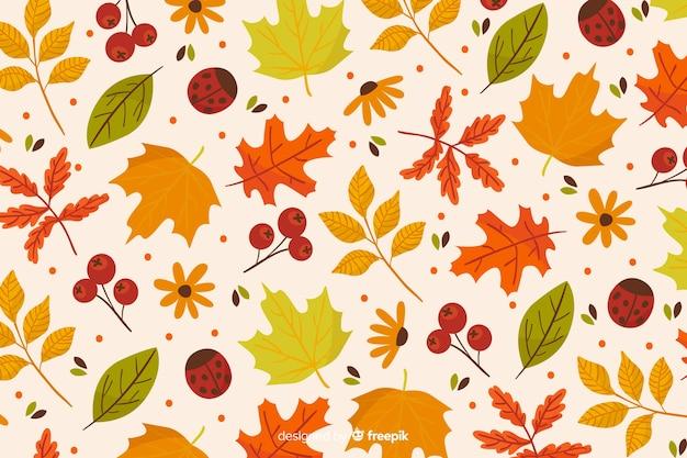 Ręcznie rysowane tła jesiennych liści