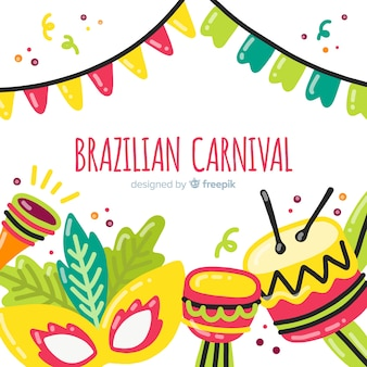 Ręcznie rysowane tła karnawał brazylijski