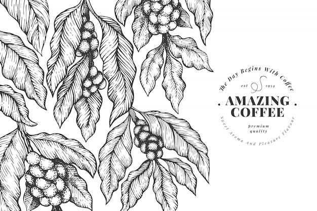 Ręcznie rysowane tła kawy vintage