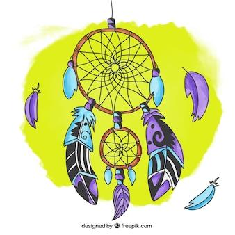 Ręcznie rysowane tła kolorowe dreamcatcher
