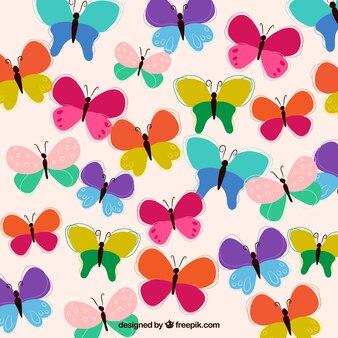 Ręcznie rysowane tła kolorowe motyle