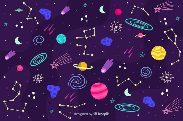 Ręcznie rysowane tła kosmosu