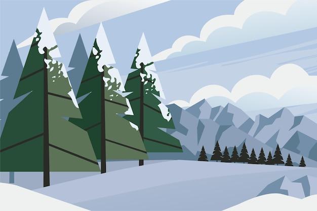 Ręcznie rysowane tła krajobraz zimowy