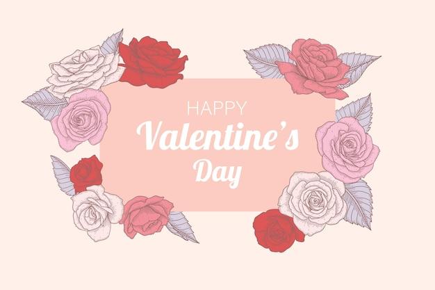 Ręcznie Rysowane Tła Kwiatowy Walentynki. Premium Wektorów