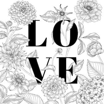 Ręcznie rysowane tła kwiatowy walentynki.