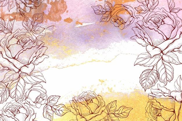 Ręcznie rysowane tła kwiatowy
