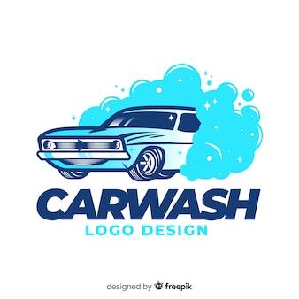 Ręcznie rysowane tła logo myjni samochodowej