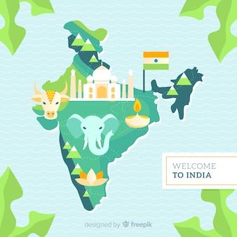 Ręcznie rysowane tła mapy indii