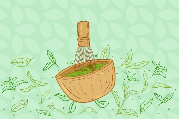 Ręcznie rysowane tła matcha herbaty i trzepaczki