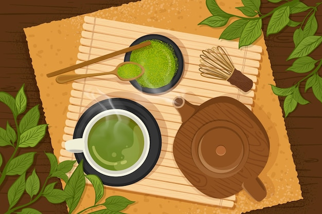 Ręcznie rysowane tła matcha herbaty