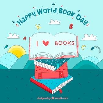Ręcznie rysowane tła na dzień książki świata