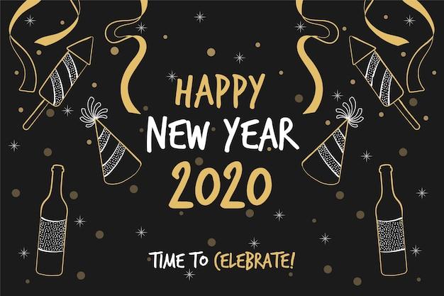 Ręcznie rysowane tła nowego roku 2020