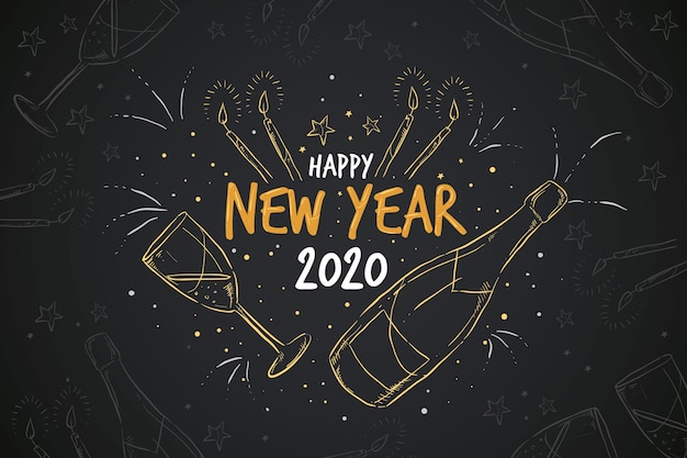 Ręcznie rysowane tła nowego roku