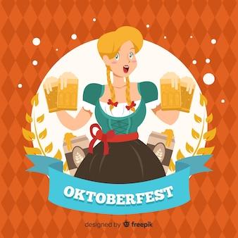 Ręcznie rysowane tła oktoberfest z kobietą