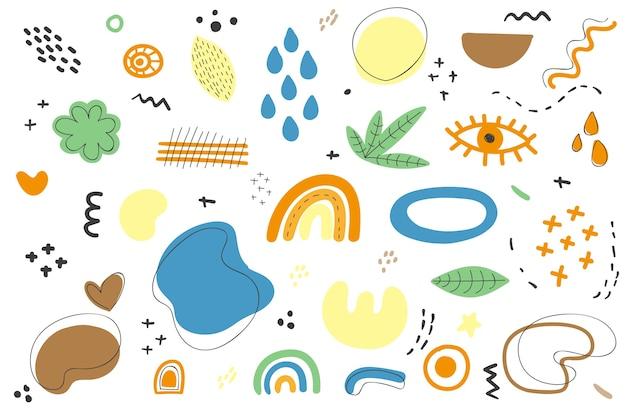 Ręcznie rysowane tła organiczne kształty