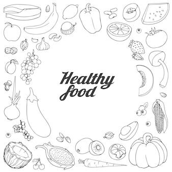 Ręcznie rysowane tła owoców i warzyw z miejscem na tekst ilustracji. szkic doodle zestaw. różne ręcznie rysowane jedzenie ułożone jako okrąg na białym tle.