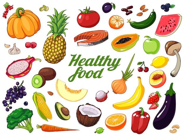 Ręcznie rysowane tła owoców i warzyw