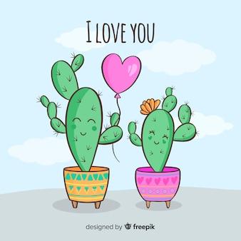 Ręcznie rysowane tła para kaktus