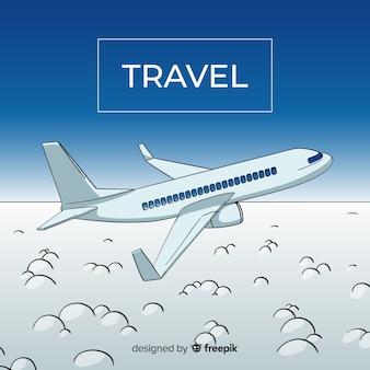 Ręcznie rysowane tła podróży samolotem
