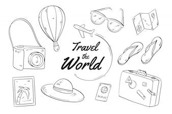 Ręcznie rysowane tła podróży