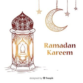 Ręcznie rysowane tła ramadan